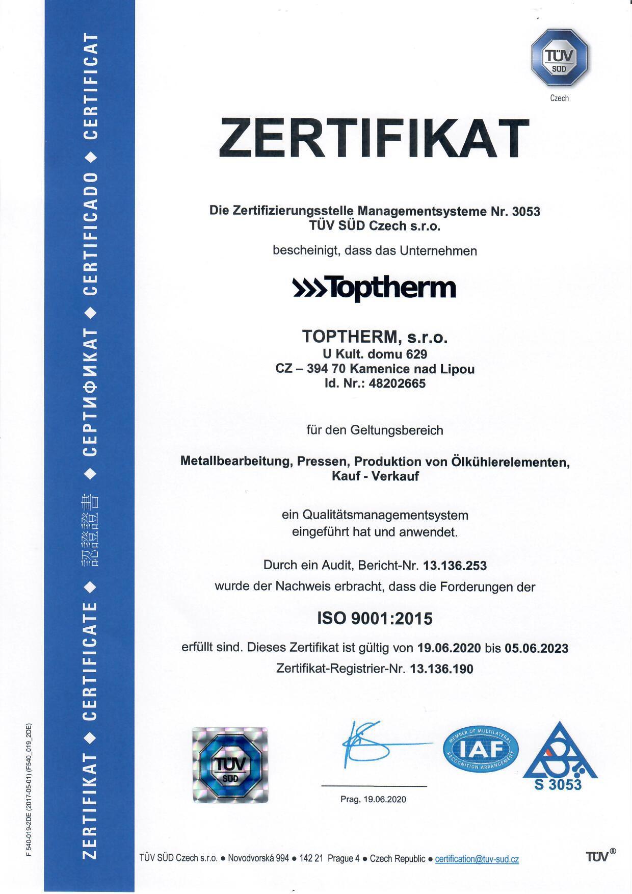 certifikát ISO 9001 2020 DE