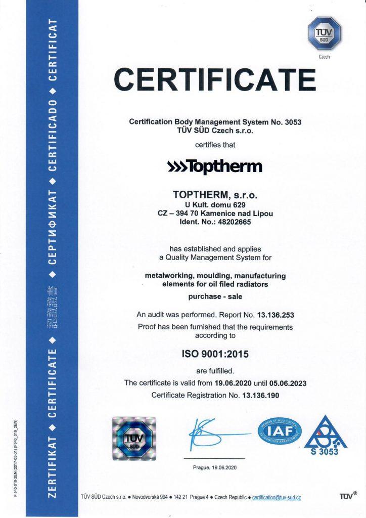 Certifikát ISO 9001 EN